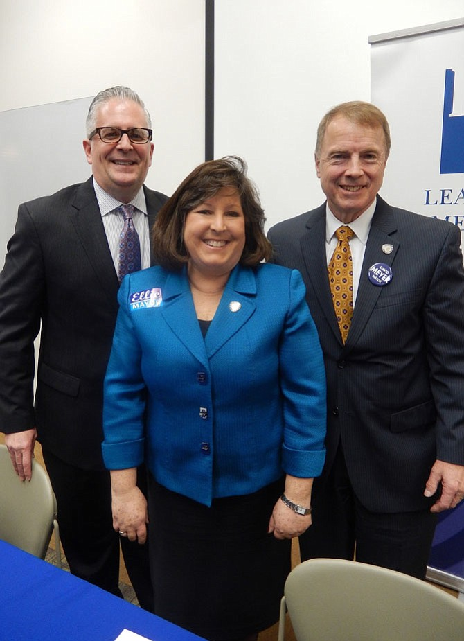 Fairfax mayoral candidates (from left) Michael DeMarco, Ellie Schmidt and David Meyer.