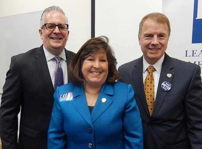 Hoping to become the City's next mayor are (from left) Michael DeMarco, Ellie Schmidt and David Meyer.