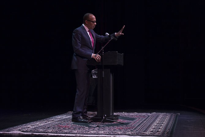 Eugene Robinson speaks at the Reston Community Center's Dr. Martin Luther King, Jr. Birthday Celebration on Monday, Jan. 16, at the CenterStage.