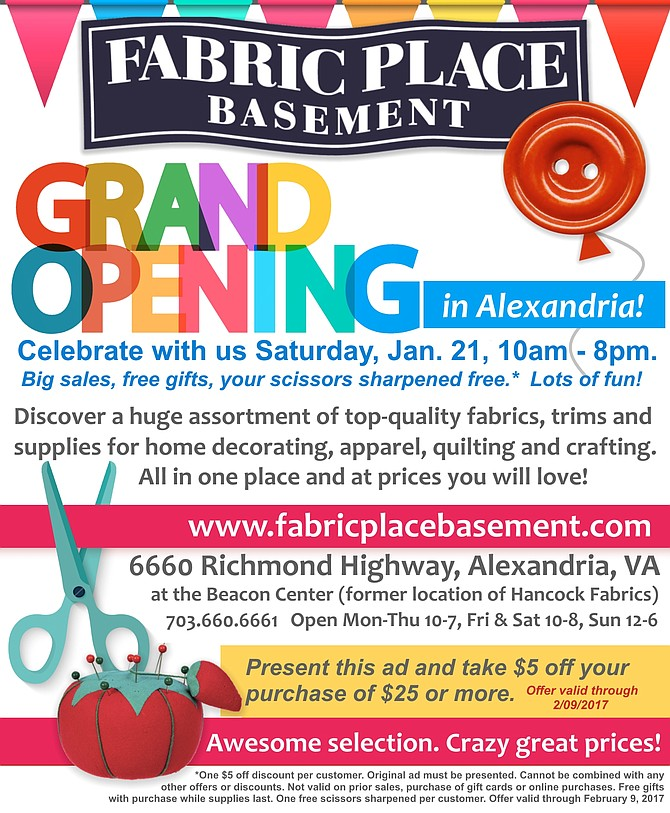 Fabric Place Basement in Alexandria celebrates their Grand Opening Saturday, January 21.