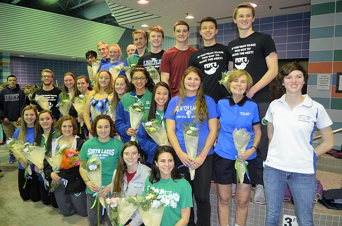Senior members of the South Lakes swim and dive teams were recognized before their meet against McLean High School on Friday, Jan. 6 at the Herndon Community Center.