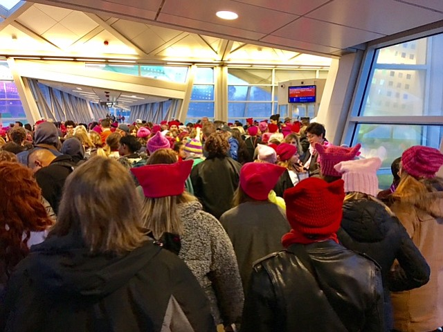 Crowd filling metro train at 7:35 a.m. at Wiehle Station in Reston.  Not an exaggeration to say thousands came from Reston alone.  Heavy volume 6AM to almost 12 noon.