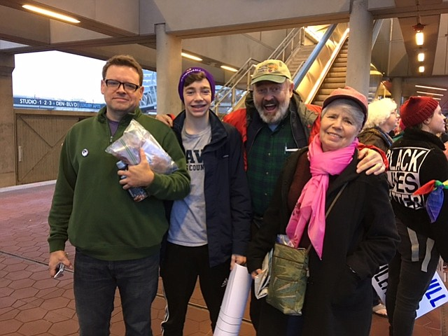 Lovaas family ready to board Silver Line train in Reston. From left: Terry Loveman, his son Cole Loveman, 16 on March 1, John and Fran Lovaas.