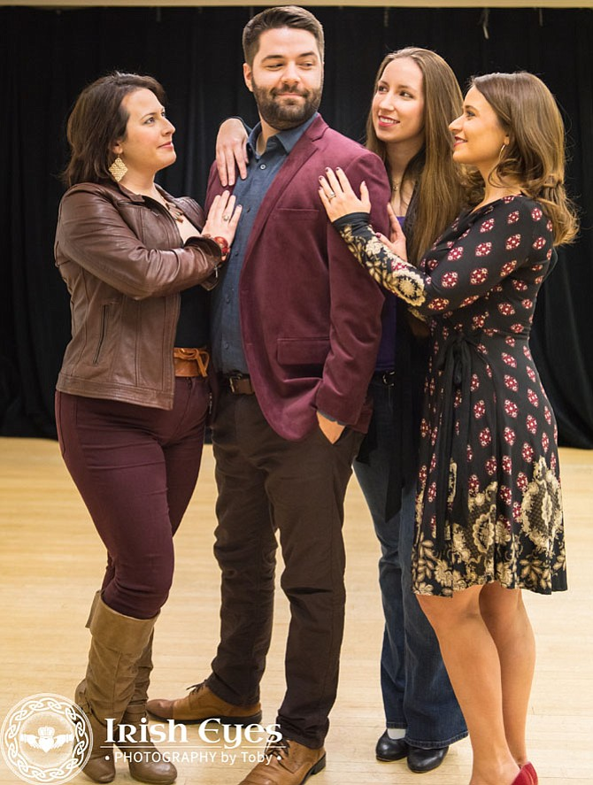 From left -- Robert (Matt Liptak) and his three girlfriends, Marta (Kristina Friedgen), Kathy (Vanessa Miller), and April (Melissa Pieja) in a 'Company' rehearsal photo. McLean Community Players present 'Company'  at the Alden Theatre in the McLean Community Center on weekend Feb. 3 to Feb. 19, 2017.