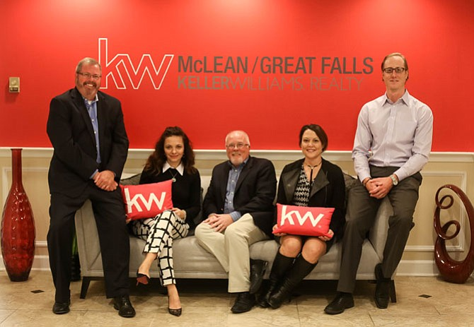 Keller Williams McLean/Great Falls Leadership: Managing Broker Patrick Page, CEO/Team Leader Amina Basic, Principal Broker Ron Cathell, Assistant Team Leader Boni Vinter and Principal Owner Derek Blain.
