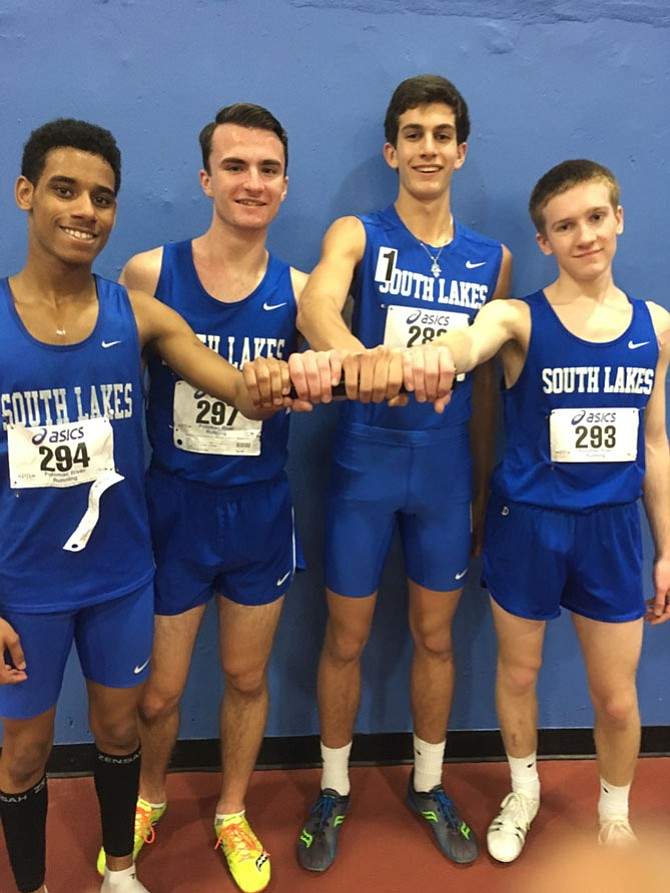 imarcus Vilcheck, Jack Watkins, Alex Loukili, Josh Umbrell won in 4x800 at Liberty Conference Championship on Jan. 19.