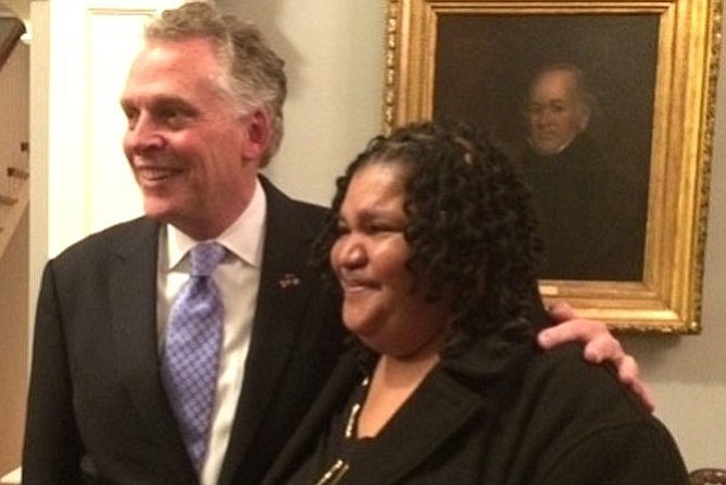 "Terry Garrett with Gov. Terry McAuliffe: ""I walk by my former drug dealers all the time in Alexandria."""