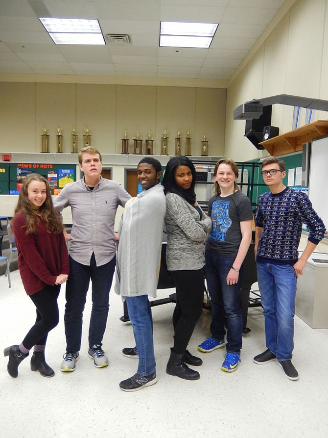 """Posing in character for Centreville High's musical, """"You're a Good Man, Charlie Brown,"""" are (from left) Margot Vanyan (Patty), Andrew Lindgren (Charlie Brown), Kyree Parker (Linus), Kourtni McNeil (Lucy), Peter Waldmiller (Snoopy) and Ben Stallard (Schroeder)."""