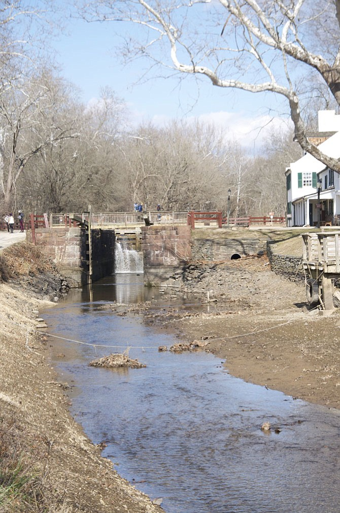 Lock 20 has been drained to allow for a topographic survey to be conducted by Chesapeake and Ohio Canal National Historical Park staff  to better quantify the amount of sediment which has accumulated within the canal.