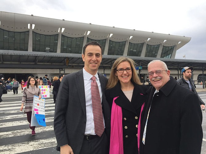 Left, Del. Marcus Simon was at Dulles airport Saturday and Sunday, as well as (center) state Sen. Jennifer Wexton (D-33), and (right) U.S. Rep. Gerry Connolly (D-11), asking that some of the more than 20 lawyers present be given the opportunity to meet with the detainees.