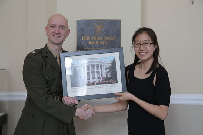 Olivia Johann with Marine Band Director Lt. Col. Jason K. Fettig.