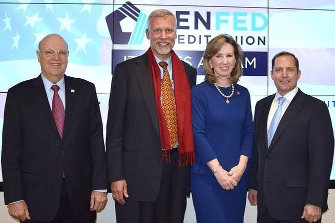 PenFed Credit Union Chairman Ed Cody, PenFed Credit Union Board Member Ron Spear, U.S. Rep. Barbara Comstock (R-10, PenFed Credit Union President/CEO James Schenck.