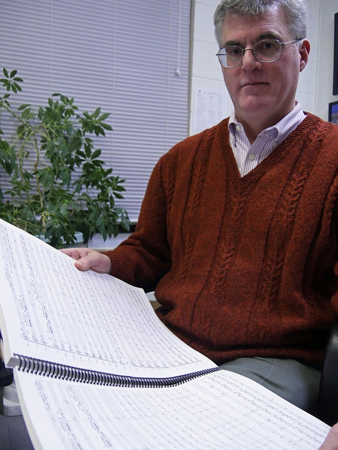 "John McCrary, director of Music and Liturgy at Blessed Sacrament Catholic Church on W. Braddock Road, created the full conductor's score for ""The Prodigal Son."" He says this is what six months of work looks like."