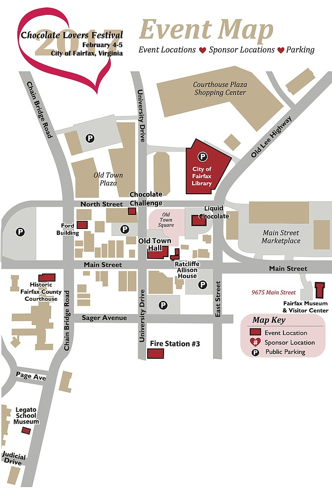 Map of the 2017 Fairfax Chocolate Lovers Festival