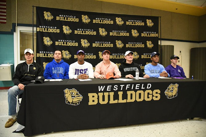 From left are Sean Eckert, Edward Quitugua, Rehman Johnson, Brian Delaney, Zach Jewell, Ivory Frimpong, and Joey Free.