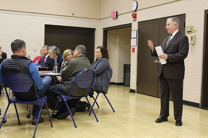 Sunrise Attorney Stu Mendelsohn spoke before the McLean Citizens Association's Planning and Zoning Committee on Tuesday, Jan. 24, at a public meeting where nearly 200 people attended.
