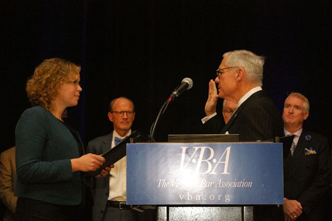 David S. Mercer is installed as 129th president of the Virginia Bar Association during the swearing-in ceremony held on Saturday, January 21 in Williamsburg, Virginia. The oath of office was administered by his daughter-in-law, Kelly Thomasson, Virginia Secretary of the Commonwealth.