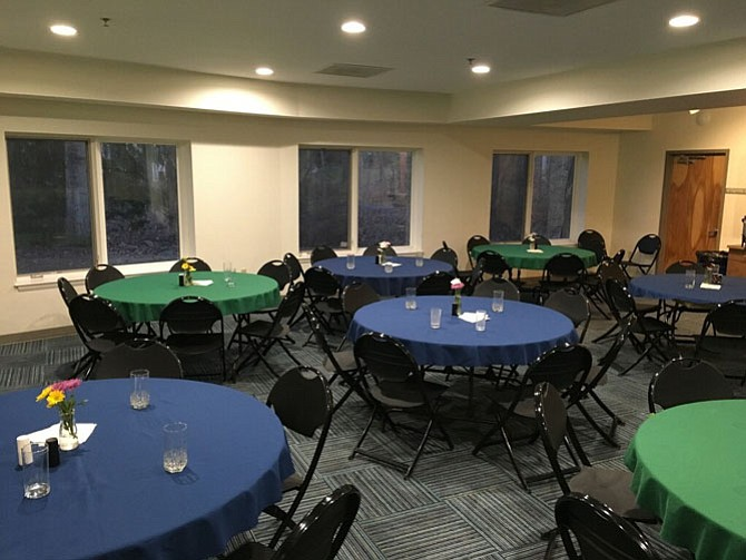 The dining room at the Unitarian Universalist Church of Fairfax in Oakton is set for service. Church volunteers at each church in the Hypothermia Prevention Program provide the homeless with dinner when they arrive, breakfast when they wake up and a packed lunch when they leave.