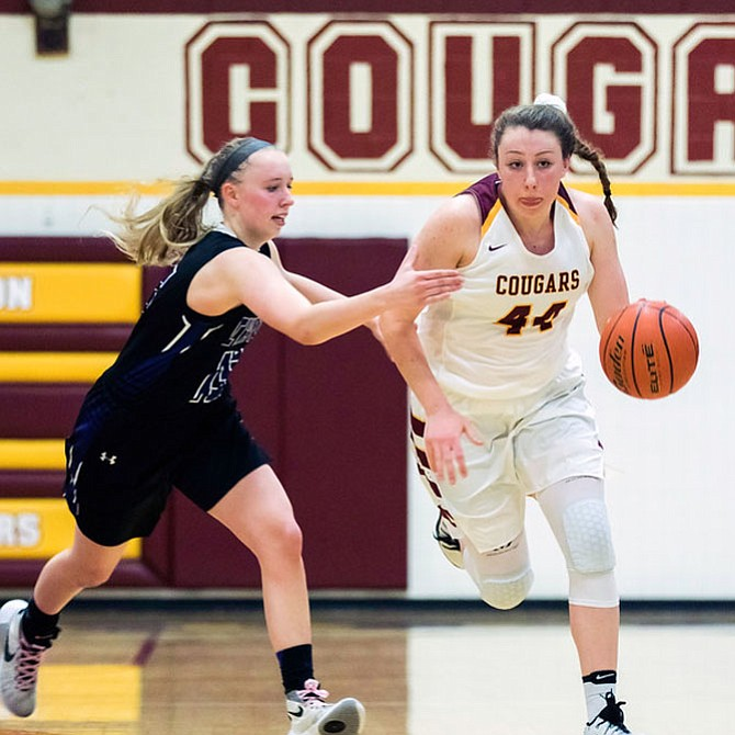 Delaney Connolly #44 scored 19 points to lead Oakton in a win over Chantilly 53-51.