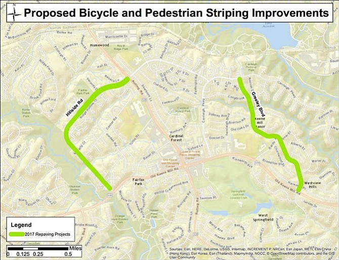 Two of the areas under review as part of the Virginia Department of Transportation's 2017 repaving schedule include Greeley Blvd from Carrleigh Pkwy to Old Keene Mill Rd and Hillside Road from Rolling Road to Old Keene Mill Road.