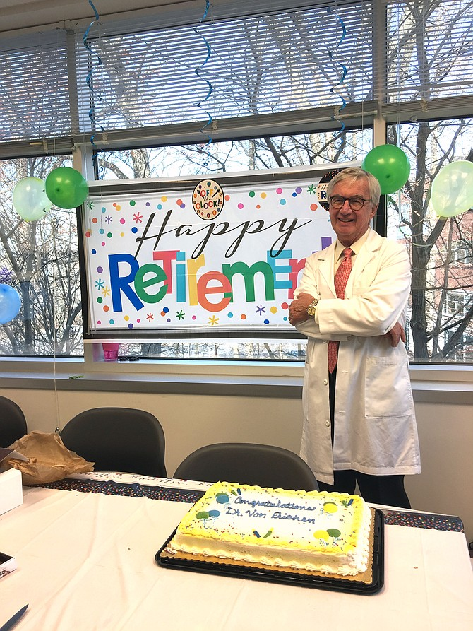 The Retina Group of Washington threw Manfred von Fricken of Great Falls a surprise retirement party.