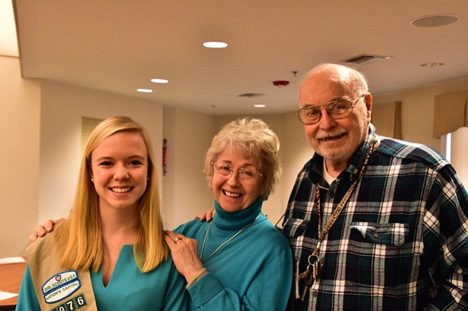 From left: Caroline Brunner, Jane Gardner, and Jay Edwards celebrate another successful Music Connection performance at Lewinsville Retirement Residences.