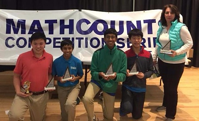 "The Nysmith ""MATHCOUNTS"" team, from left: Whitman Ochiai, Anand Advani, Anuraag Kaashyap, Kaien Yang and coach JoMarie Broccoli."