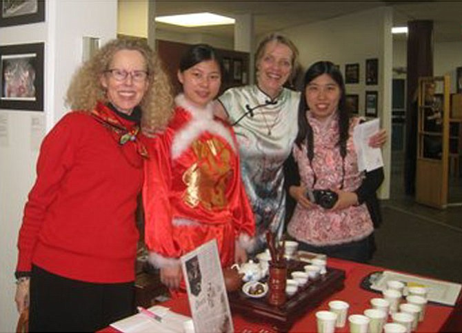 Lucia Claster, deputy director of the Confucius Institute; Zhongya Liu, teacher at Confucius Institute; Dr. Monika Hoffarth-Zelloe, curator; and Yan Pan, teacher at Confucius Institute