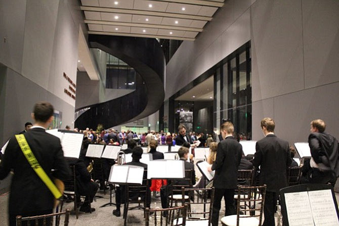 The West Potomac Jazz Band was asked by the National Education Association to provide the entertainment during its reception at the museum.-