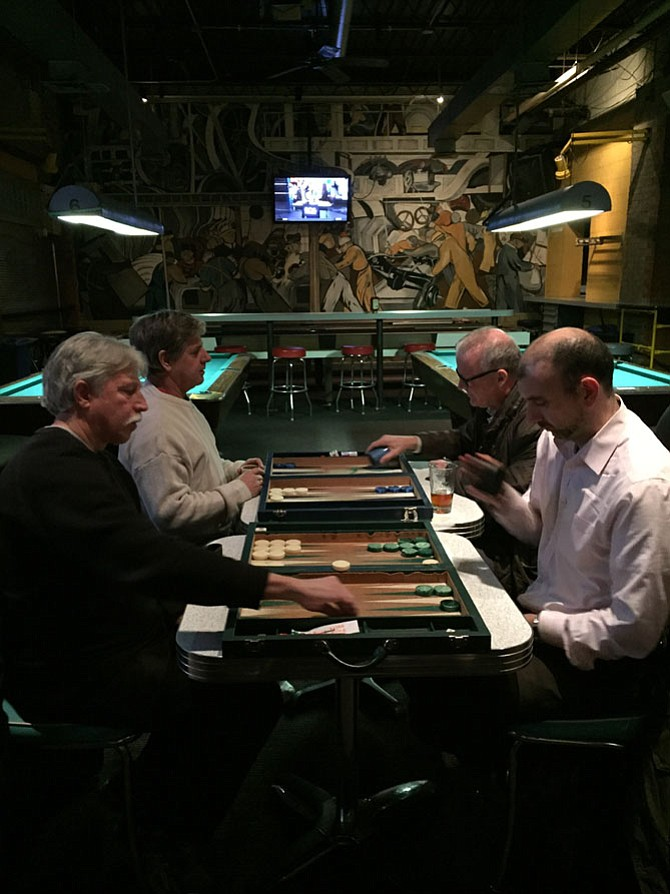 The Northern Virginia Backgammon Club plays in a back corner of Carpool.