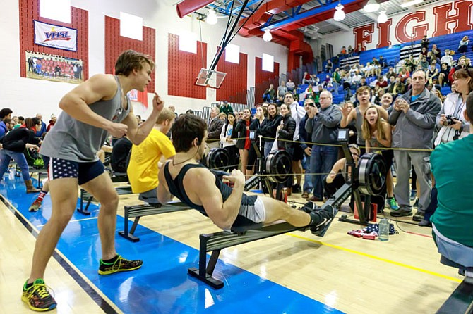 Rowers are cheered on during the Mid-Atlantic Erg Sprints held Feb. 4 at T.C. Williams High School.