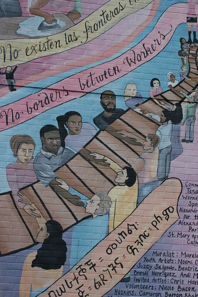 The mural on the Tenants and Workers United's building, located at 3801 Mt. Vernon Ave., highlights the history of U.S. immigration. It was commissioned by the nonprofit in August 2008 and sponsored by the Alexandria Commission on the Arts, Alexandria Economic Partners Inc. and St. Mary of Sorrows Catholic Church.