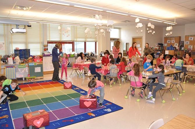 Carderock Springs Elementary School Valentine's Party in Julie McDonald's kindergarten classroom.