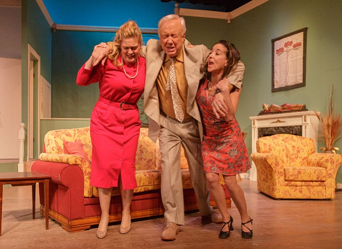 "Charlene Sloan (Harriett), Peter Harrold (Gordon), and Dana Gattuso (Anne) rehearse for ""Key for Two"" at the Little Theatre of Alexandria."