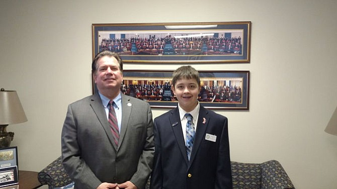 Del. Tim Hugo (R-40) is joined by constituent Sam Hillenberg, who's working as a General Assembly page during this legislative session. Hugo's HB 1885 limiting opioids prescriptions has passed both the House of Delegates and Senate.