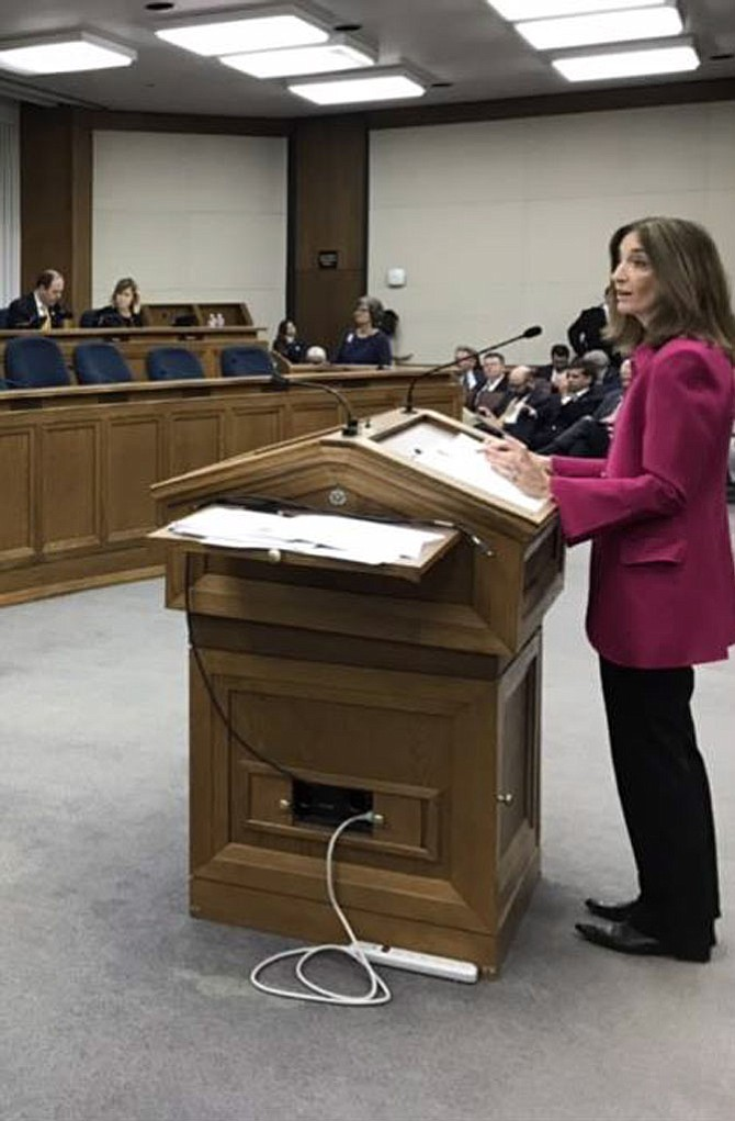 Right, Del. Eileen Filler-Corn (D-41) speaks at the Virginia General Assembly about HB 2404, which would create an advisory council to study and raise awareness of PANDAS and PANS.