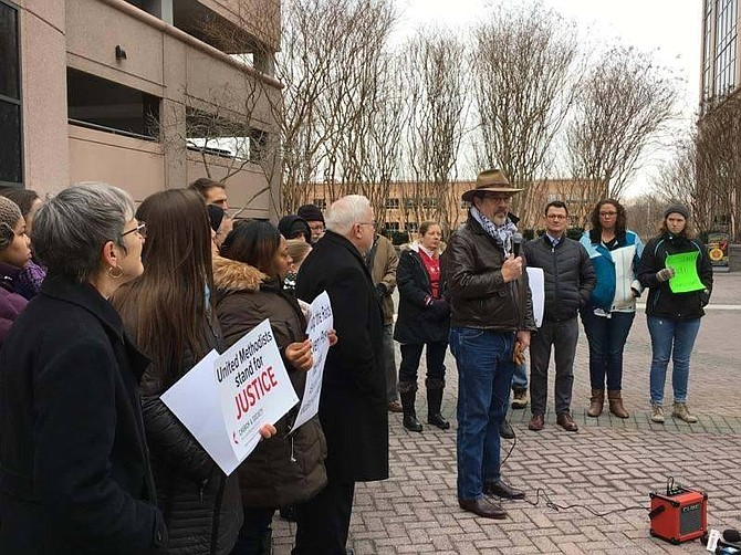 On Feb. 17, Rising Hope pastor Keary Kincannon and other religious leaders held a prayer vigil and demonstration at the ICE field office on Prosperity Avenue in Fairfax.