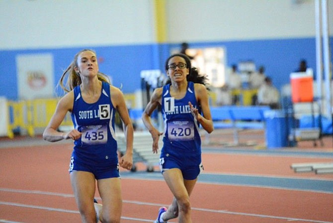 Aly Rayle and Mary Gregory compete in the 500 Meters at the 6A North Region Meet on Feb. 15.