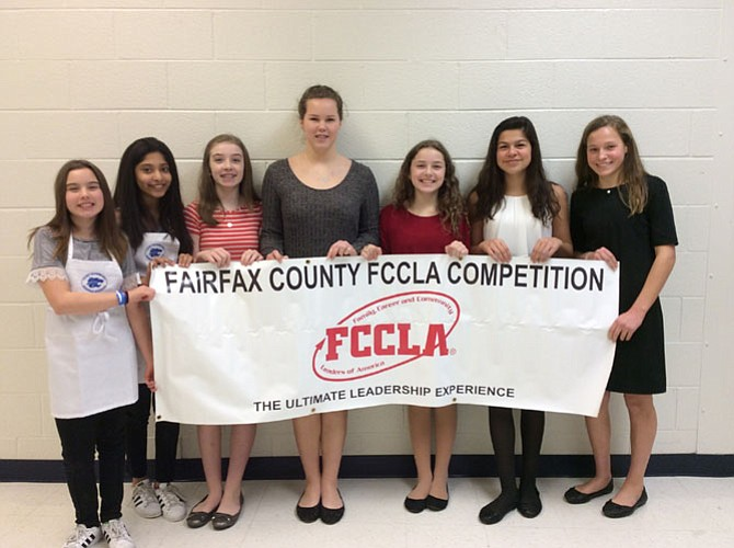 Carl Sandburg Middle School students received awards at the FCPS Family, Career and Community Leaders of America contest last month. The students are (from left) Sophia Wypyski, Dianna Rivera, Denali Mason, Juliana Dexter, Annabella Mason, Cecilia Morales Barraza, and Winnie Mikulski.