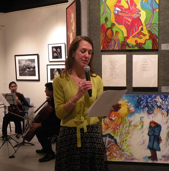 """Susan Notar, a member of The Poetry Society of Virginia, recites her poem during the second stop on the regional performance tour of """"Springtime in Winter: An Ekphrastic Study in Art, Poetry, and Music."""" held on Feb. 22."""