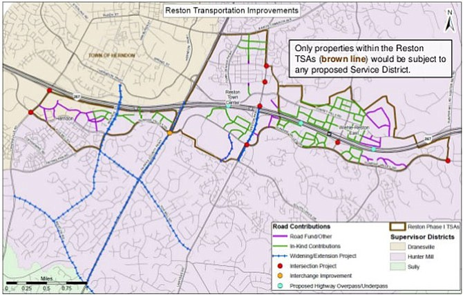 A map of the Reston Transit Station Areas (TSAs) that would be subject to the funding proposal. The Wiehle-Reston East and Reston Town Center TSAs are located along both sides of the Dulles Airport Access Road and Dulles Toll Road (DAAR) from the Virginia Department of Transportation owned storage facility to the east, Hunter Mill Road on the southeast and Fairfax County Parkway on the west. The Herndon TSA is located along the south side of the DAAR and is bounded by Fairfax County Parkway on the east, Fox Mill Road and Sunrise Valley Drive on the south and Centreville Road on the west. Land to the north of the Herndon station is within the Town of Herndon.