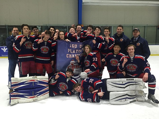 The NOVA Ice Dogs are the champions of the Chesapeake Bay Hockey League for the U-16 Upper Patrick Division.
