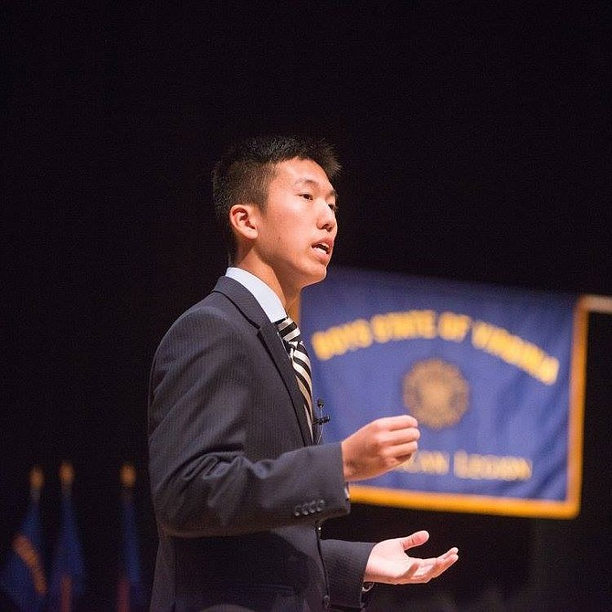 Tim Park, a Fairfax County resident and senior at Trinity Christian School, speaking at an event.