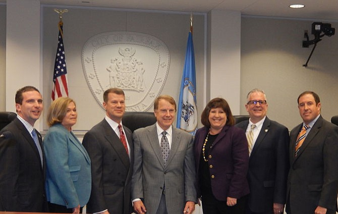 From left are Council members Jon Stehle, Janice Miller and Jeff Greenfield, Mayor David Meyer and Council members Ellie Schmidt, Michael DeMarco and Dan Drummond.