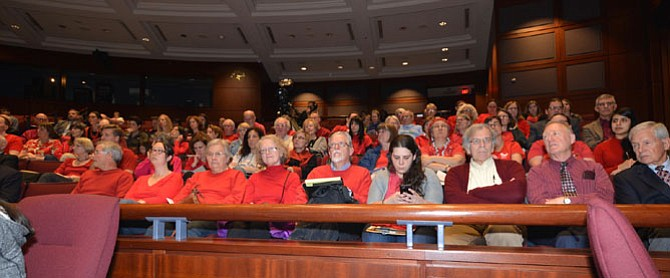 The Faith Alliance for Climate Solutions brought a red-clad contingent of supporters for their speakers at the Fairfax County Feb. 28 Board of Supervisors meeting.