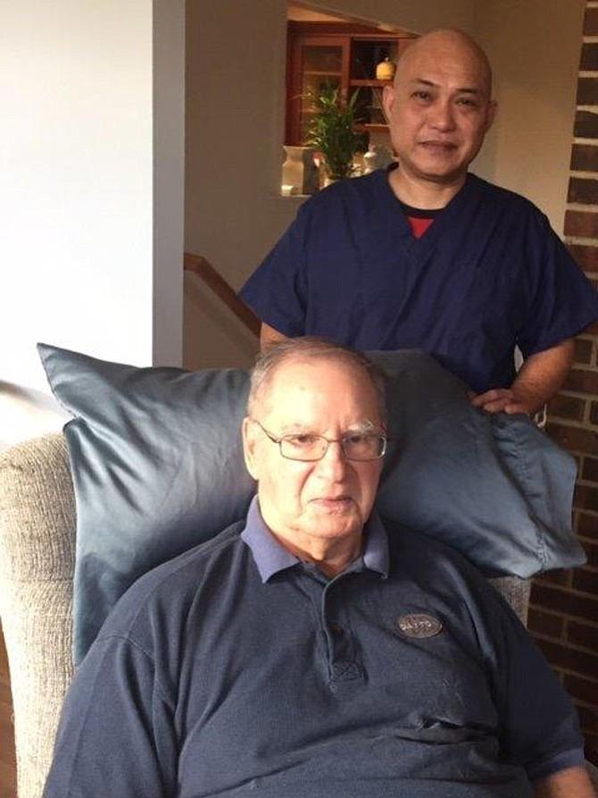 Alvin Encarguez, caregiver to William Bowry, Synergy Home Care Client.