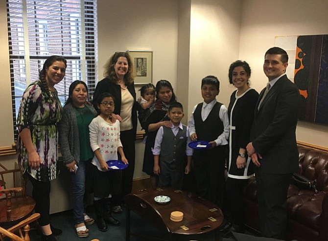 Mayor Allison Silberberg gave a private tour of the Council Chamber to youths who participate in Casa Chirilagua, a faith-based nonprofit that offers a variety of programs to the largely Latino immigrant community of Arlandria. The children's mothers, Alexis' adult mentor Dorian Belz, and two Casa Chirilagua staffers accompanied the youths.
