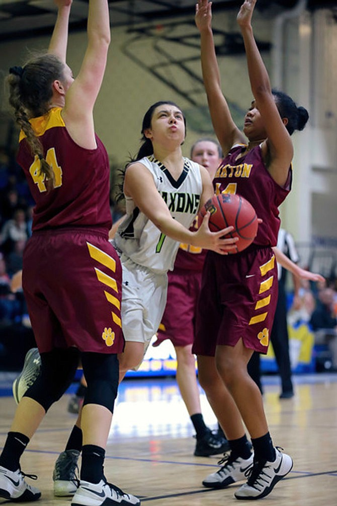 Oakton's Delaney Connolly #44 and Mina Mori #14 gave this kind of attention to Langley's Jordyn Callaghan #1 in Oakton's semifinal win over Langley. Connolly scored 31 points and Mori added 10.