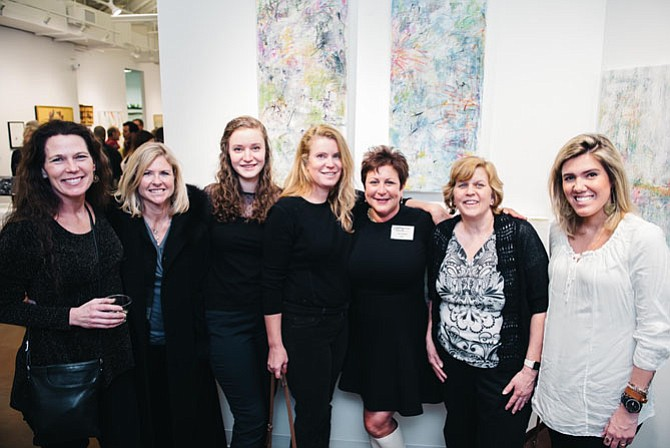 Suzanne Pearson, Lisa Arthur, Giorgi Medellin, Jne Jacques, Lisa Tureson, Mimi Rosen, Larissa Tonini attend the opening reception of Tureson's new exhibit.