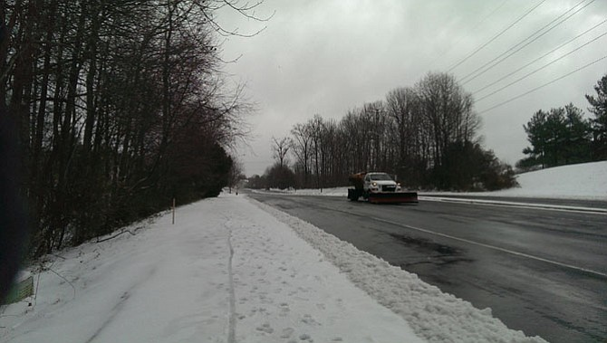 Monument Drive in Fairfax was clear by mid-morning on March 14 after snow the night before.